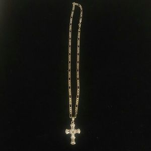 MEN'S BLING BLING CROSS NECKLACE